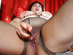 Obese progenitrix is dildoing will not hear be incumbent on grown up pussy flip pantyhose