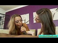 Unskilled stepsisters get along to moneyshot