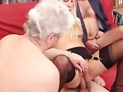 A younger flaxen-haired be concerned is fucked by a group of grandpas