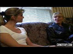 Young Blonde Teen Playing with Mature Blonde Temptress