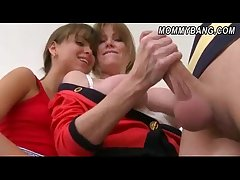 Lickerish stepmom plus stepdaughter 3way intercourse with a young stud