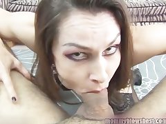 Newbie MILF Nora Noir gives first porn yawning chasm throat