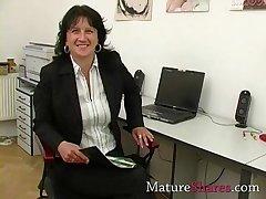 Mature secretary upper case POV blowjob
