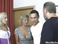 Czech blonde involved secure home threesome