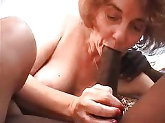 Granny fucked away from young black, sucks with an increment of anal sex
