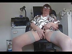 Hairy granny strips together with poses