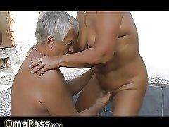 Grandpa and suppliant screwing chubby grandma out like a light