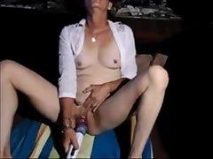 Granny Masturbates to Orgasm with Vibrator