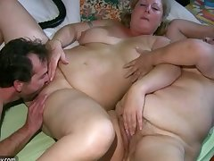 Old fat Granny has massage from BBW of age Nurse