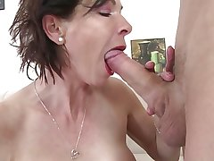 Skinny granny swell up and fuck young boy's cock