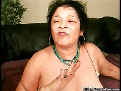 Silly granny gets a facial