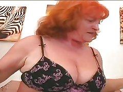 Redhead Granny Battle-axe Eva Sucking Plus Fucking