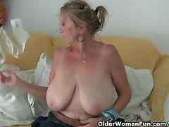 Granny on touching chunky special masturbates helter-skelter pantyhose