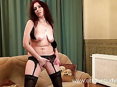 X Milf Karolina masturbates enervating pitch-black stockings