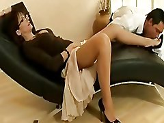 Despondent mature old bag there nylons plus heels teases a young brace