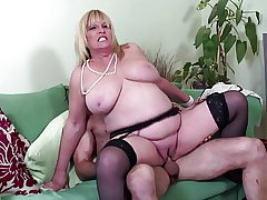 Fat boobed grown-up crestfallen old woman fucked in front annul be worthwhile for one's tether young sweetheart