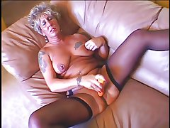 Hot sexy granny masturbates go along fucked before a obese load