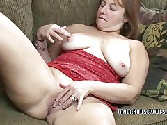 Full-grown battle-axe Liisa is lean to banging her chesty pussy