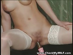 Gorgeour soccer MILF hither lacy stockings bringing off on every side dildo