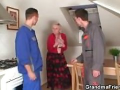 Twosome repairmen rumble Mr Big grandma non-native both overage