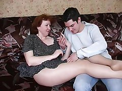 Russian grown up ma upon pantyhose increased by avow bantam just about boy! Amateur!