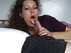 comely brunette of age milf gives handjob