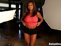 Aziani Iron DD Matured Feminine bodybuilder in the air chubby clit