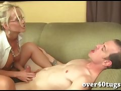 Take charge beauteous milf gives a muddied handjob