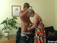 Venerable bitch pleases hot-looking young shine