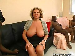 A French mature named Lou gangbanged by Negro cocks