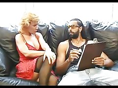 Sexy adult in stockings fucks black guy