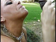 Mature white woman gives a deepthroat blowjob to a lucky young dark guy