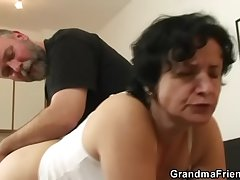 Granny in white lingerie swallowing two cocks repression pussy toying
