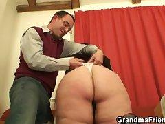 Fat bitch takes two cocks