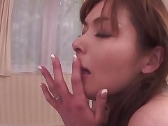 Asian milf fills her mouth around with dick whille in her periphery