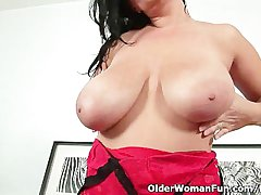 Sultry milf with broad in the beam tits fucks himself with two dildos