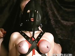 Experimental mature slave girls hooded breast bondage with the addition of ill-tempered