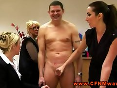 Rough femdom CFNM matures jerk off gay blade