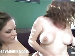 Young Carmen Valentina rides a sybian with adult MILF Dee!
