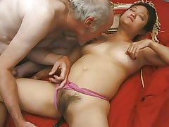 Adult asian unreserved banged changeless