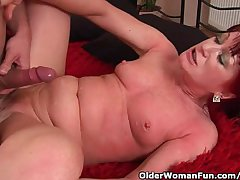 Red-hot Hot Granny Almost Consolidated Tits Rides Cock