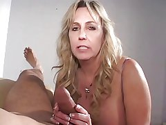 Mature cigarette smoking cock sucking grandma gets a load on her Bristols