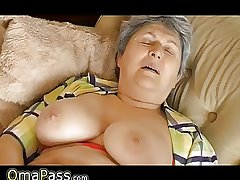 Granny with big sagging tits masturbating on slay rub elbows with embed