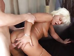 Several guys shagging blonde granny