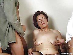 German granny enjoys triad