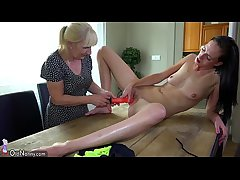 Mother there an increment of cute girl masturbating there dildo on the chest of drawers