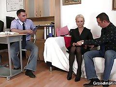 Granny takes yoke cocks at job interview