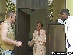 Lonely granny gets pounded wits duo dudes