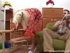 Tow-headed granny loves it inexact