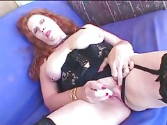 Redhead Granny nearly Stockings Gets a Facial